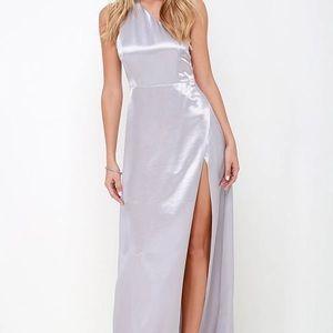 high slit one shoulder dress